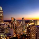 Close-in photo of Charlotte NC skyline at sunset