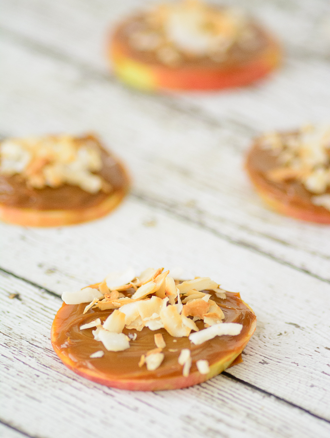 """Toasted Coconut & Caramel Apple """"Cookie"""" Great way to sneak in some healthy food for picky eaters. Perfect after school snack."""
