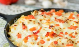 Roasted Red Pepper Chicken Alfredo Casserole