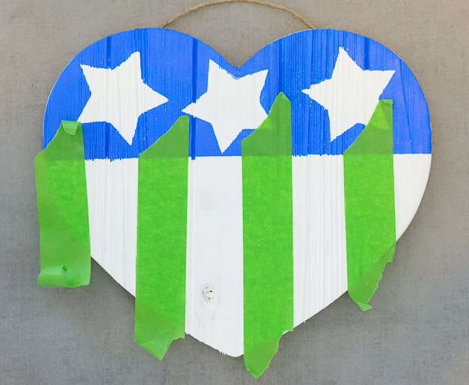 DIY American Flag Wooden Heart-4109