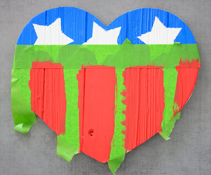 DIY American Flag Wooden Heart-4237