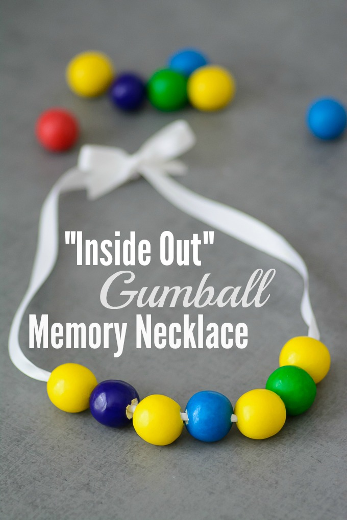 "Inside Out Gumball Memory Necklace Tutorial. After you go see Disney's ""Inside Out"", use this necklace as a teaching tool to talk about emotions and memories. Also included are Inside Out coloring pages, activity sheets and recipes!"
