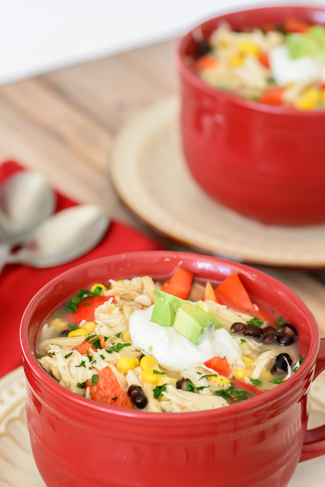 Slow Cooker Tex Mex Chicken Soup. So delciious and so comforting. Super easy to make in the crock-pot with just 10 min prep time. Yum!