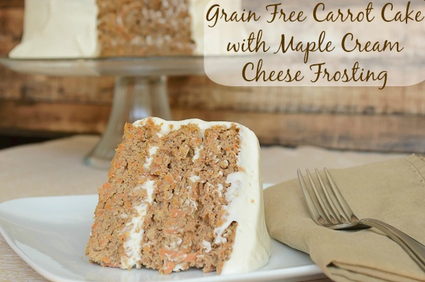 Grain Free Carrot Cake. Delicious gluten free cake recipe that tastes like a bakery cake. The maple cream cheese frosting is to die for!