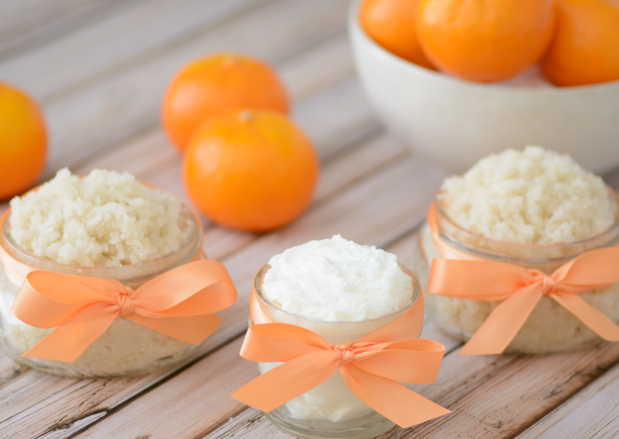 DIY Invigorating Orange Sugar Scrub and Whipped Body Butter. So easy to make and will leave your skin feeling silky and smooth plus give you an aromatic energy boost to start your day!
