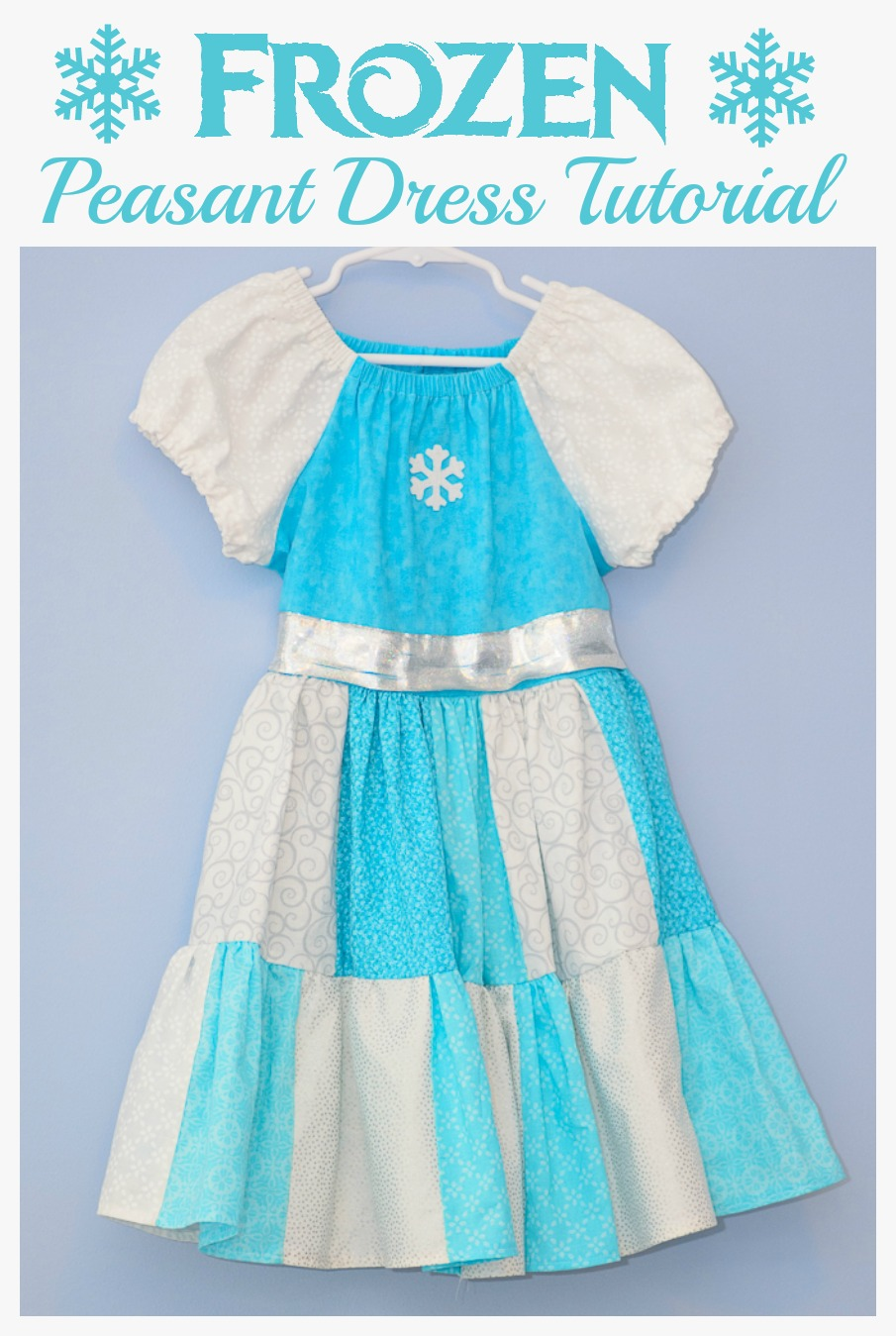 DIY Disney Frozen Peasant Dress Tutorial. Any Elsa fan is sure to love this Frozen inspired dress. No pattern to download. Great free sewing project for beginners.