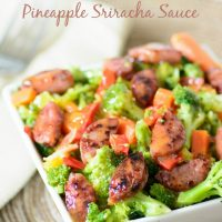 Sausage & Steamed Veggies with Pineapple Sriracha Sauce. This whole food recipe is gluten free and paleo, making it a delicious alternative to processed foods. You won't believe how good this tastes