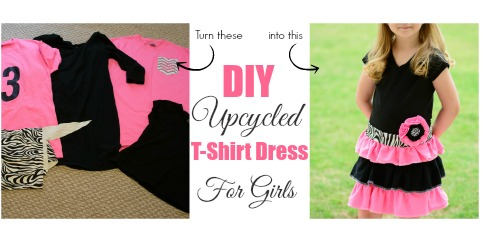 36dfe6fa39 DIY Upcycled T-shirt Dress for Girls - Almost Supermom