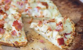 Best Ever Gluten Free Chicken Alfredo Flatbread with Bacon