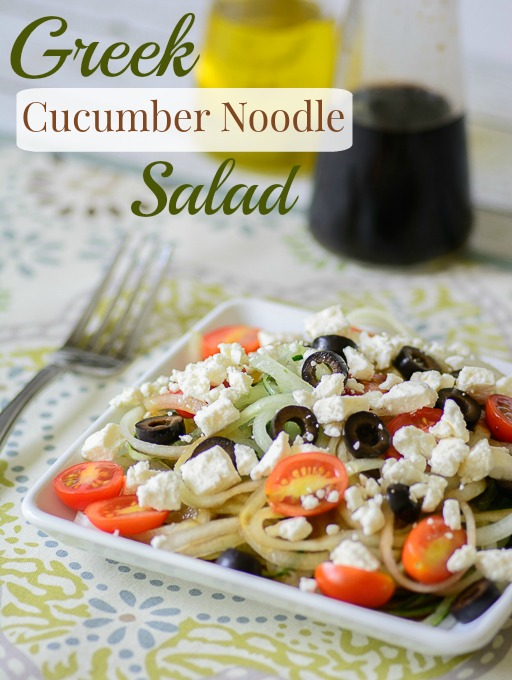 "Greek Cucumber ""Noodle"" Salad. Healthy twist on pasta salad. Great for BBQ's and parties. Perfect for those on a paleo or gluten free diet."