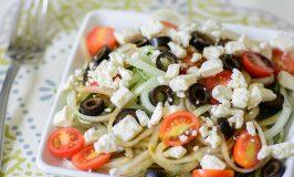 """Greek Cucumber """"Noodle"""" Salad"""