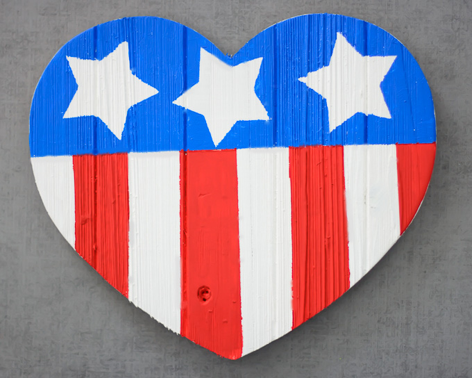 DIY American Flag Wooden Heart-4238
