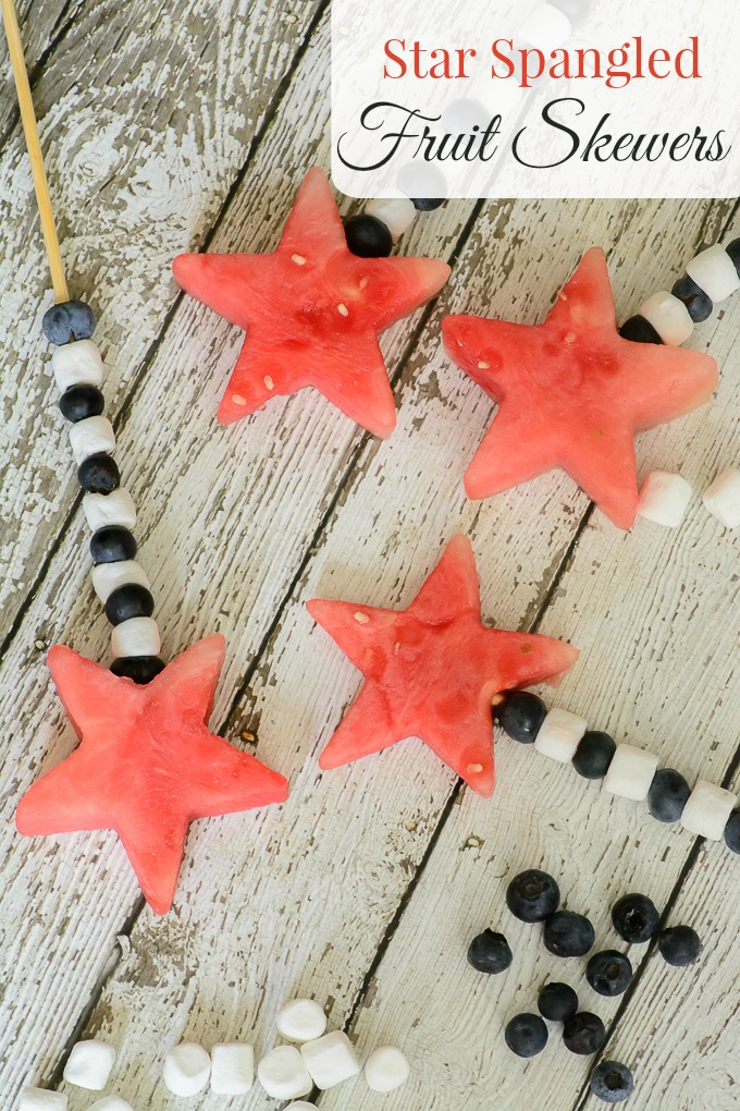 Star Spangled Fruit Skewers. What a fun and healthy treat for your next backyard BBQ! This would be perfect for Fourth of July.