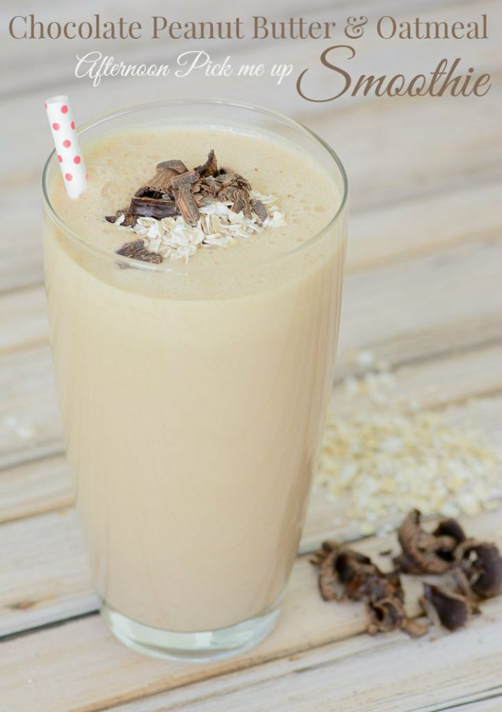 Chocolate Peanut Butter & Oatmeal Afternoon Pick me up Smoothie. Beat the afternoon slump with this delicious, healthy smoothie recipe.
