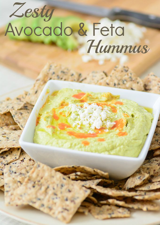 Zesty Avocado and Feta Hummus. It's like guacamole and hummus had a delcious baby! One of the best hummus recipes out there.