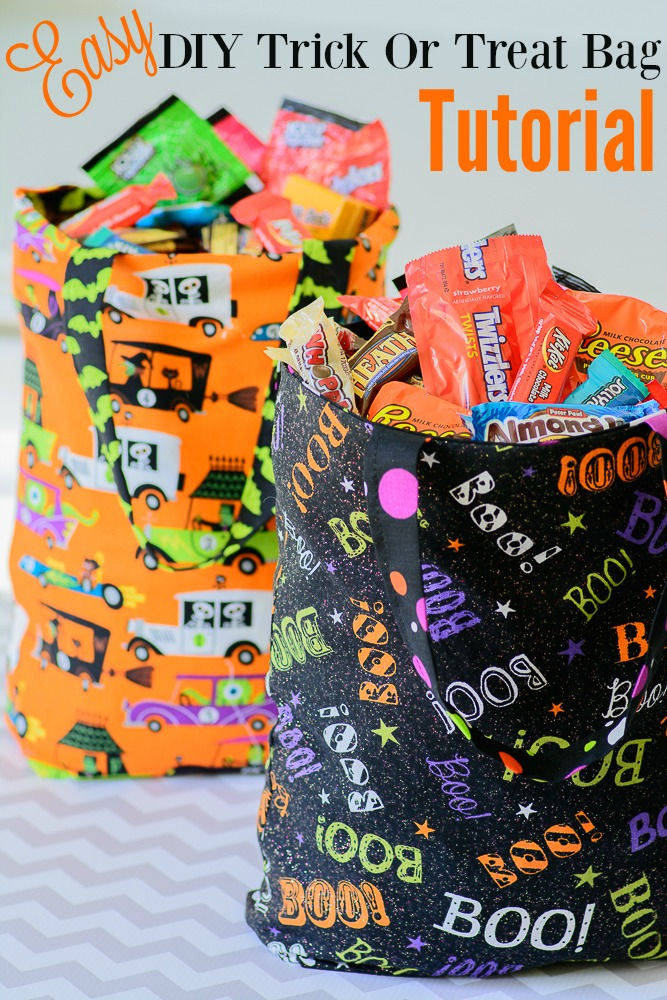 Easy DIY Trick or Treat Bag Tutorial. Less than 30 minutes and you will have a cute tote to haul your candy treats!