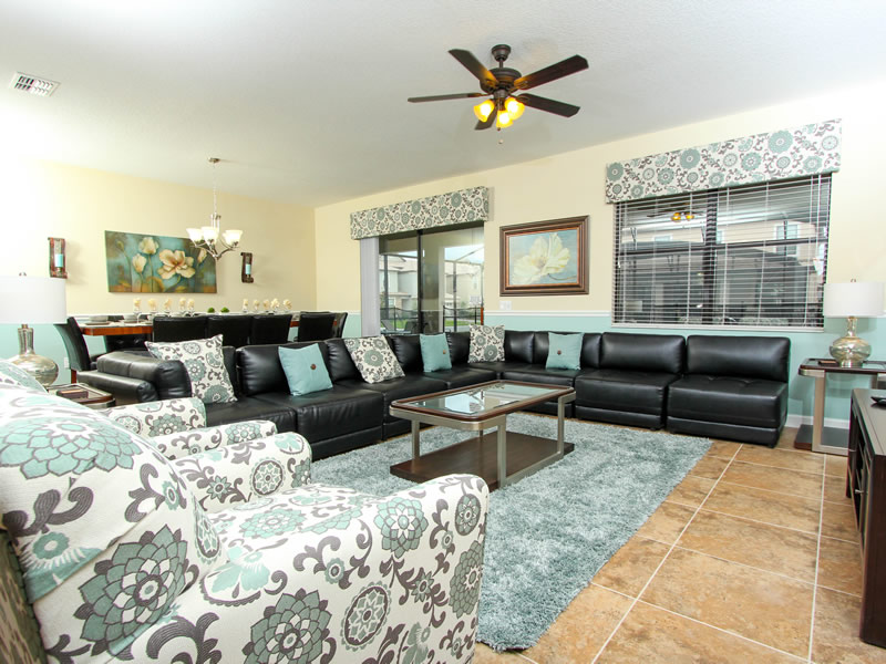 Spacious living room in Champion's Gate vacation home