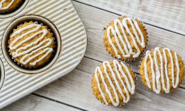 Gluten Free Pumpkin Muffins with Maple Cream Cheese Glaze