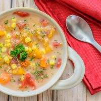 Slow Cooker Veggie Quinoa Chowder. This delicious gluten free soup recipe is perfect for chilly fall evenings and so easy to make in your slow cooker. Yum!