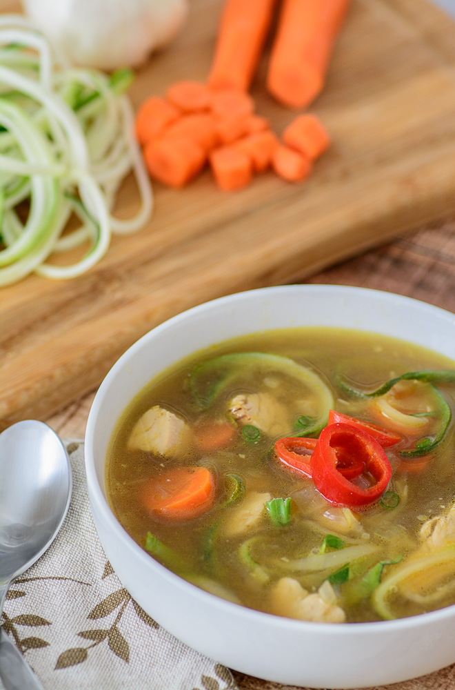 Healthy, low carb, paleo and gluten free alternative to regular chicken noodle soup. Kick it up a notch with the addition of soy sauce, ginger and a little chili pepper. Even if you don't usually like zucchini, you will LOVE this recipe!
