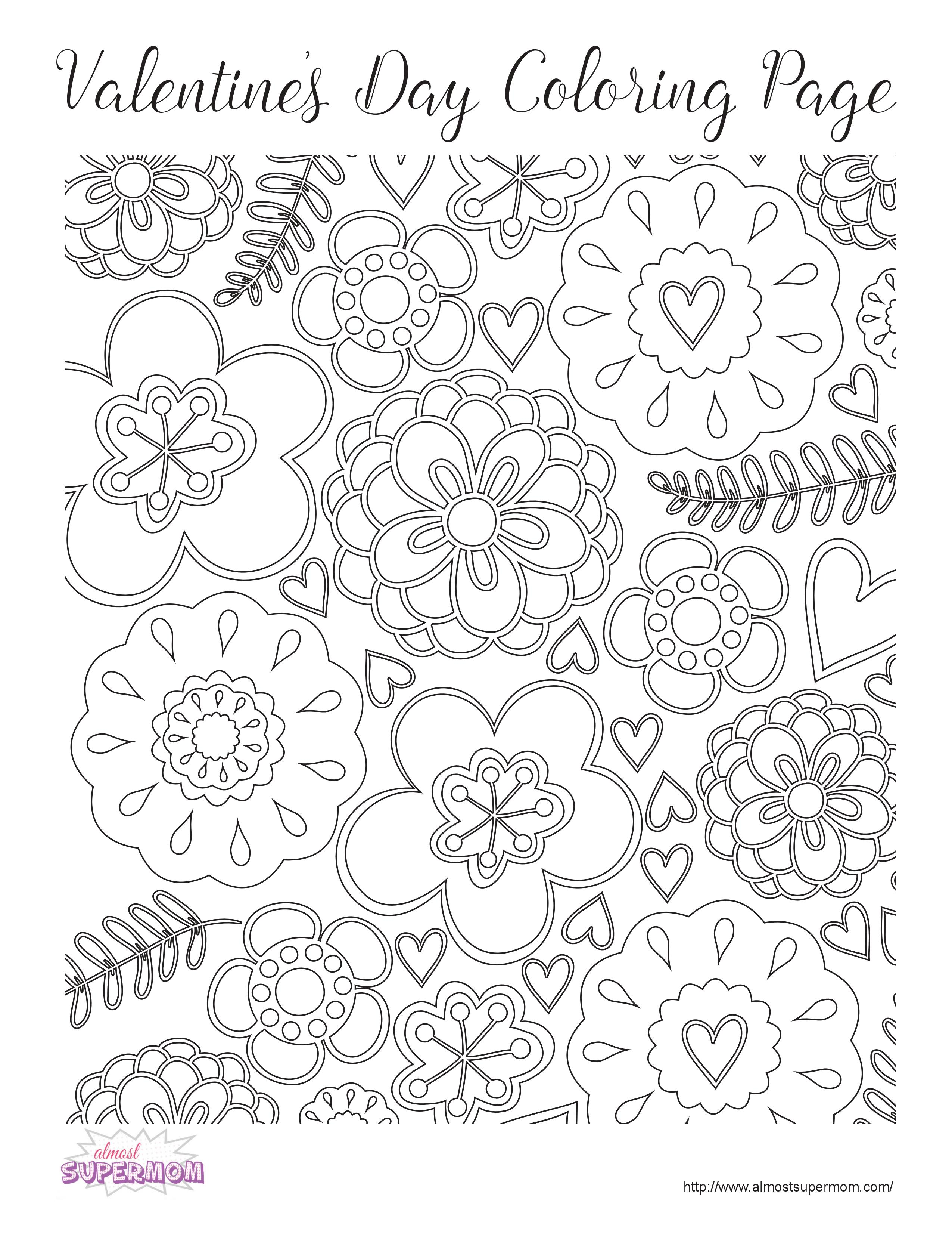 FREE Valentine\'s Day Coloring Pages for Grown Ups - Almost Supermom