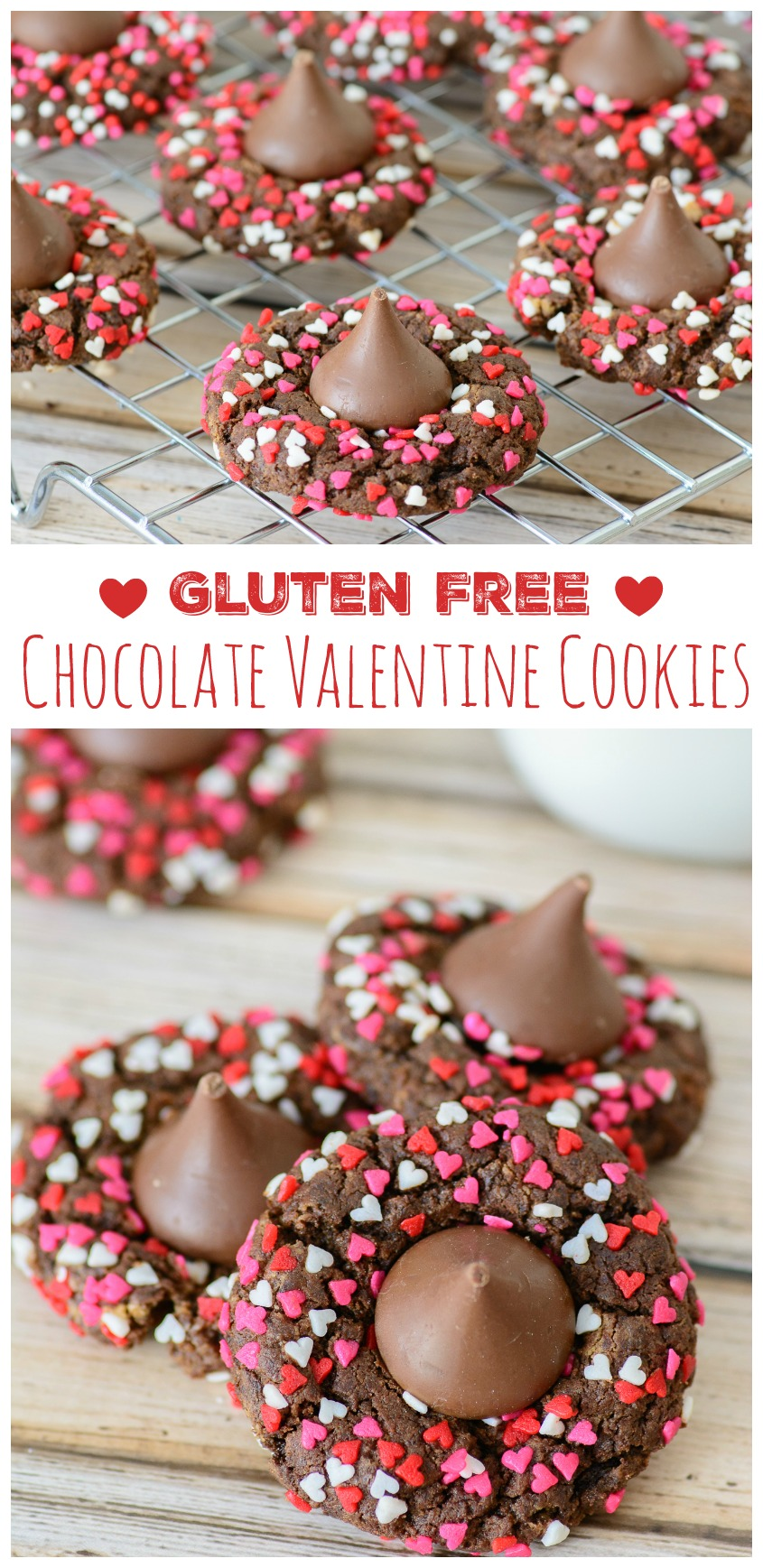 Better For You Gluten Free Chocolate Valentine Cookies. These festive, delicious and gluten free Valentine's cookies are a great way to satisfy your sweet tooth without all the guilt. YUM!!