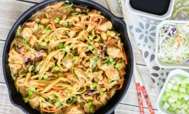 One Skillet Thai Peanut Chicken Zoodle Bowl