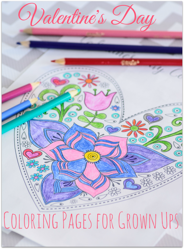 FREE Valentine's Day Coloring Pages for Grown Ups. What a great Valentine's Day activity to do with your kids or even your sweetie.....the couple that colors together, stays together, or so I've heard :)