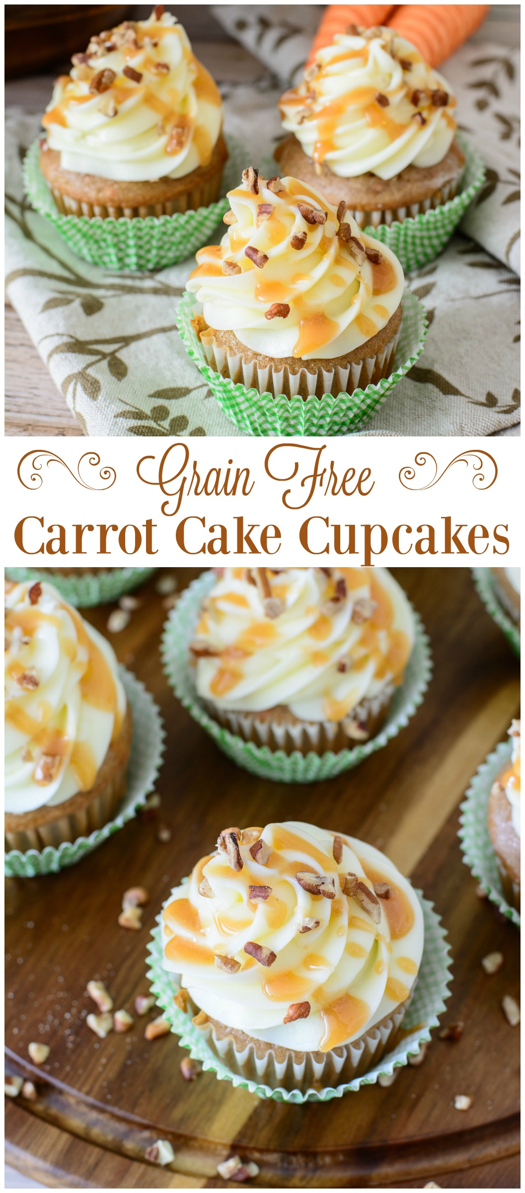 This irresistible grain free carrot cake cupcake recipe is so good and actually good for you. Sweetened with maple syrup and applesauce, it is my FAVORITE carrot cake recipe. You won't even know it's gluten free!