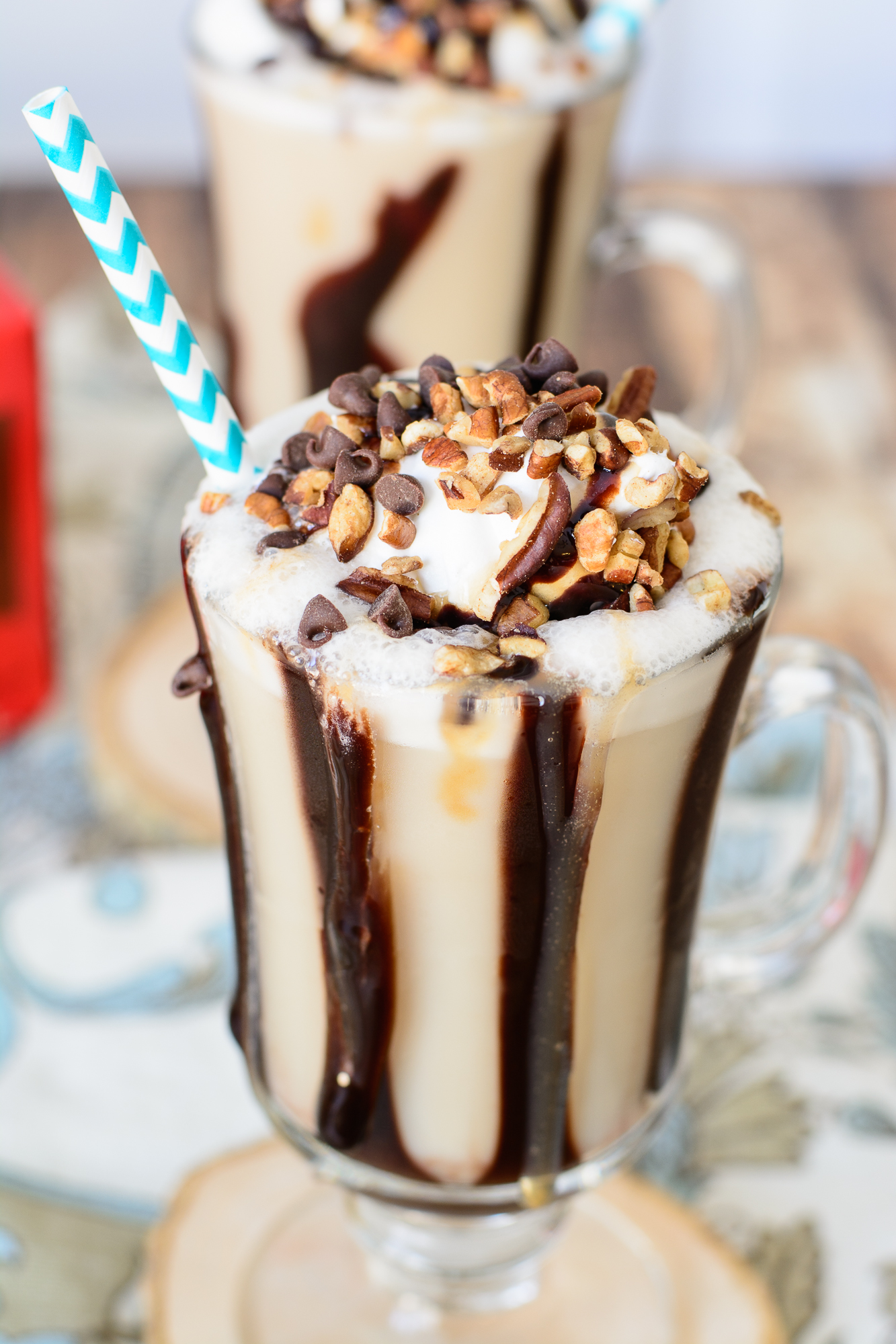 Turtle Frappucino Recipe. This frappe recipe is heaven on earth! Caramel, chocolate, pecans and coffee combine to make an incredible cold coffee drink perfect for summer. You are going to love this frappe recipe!