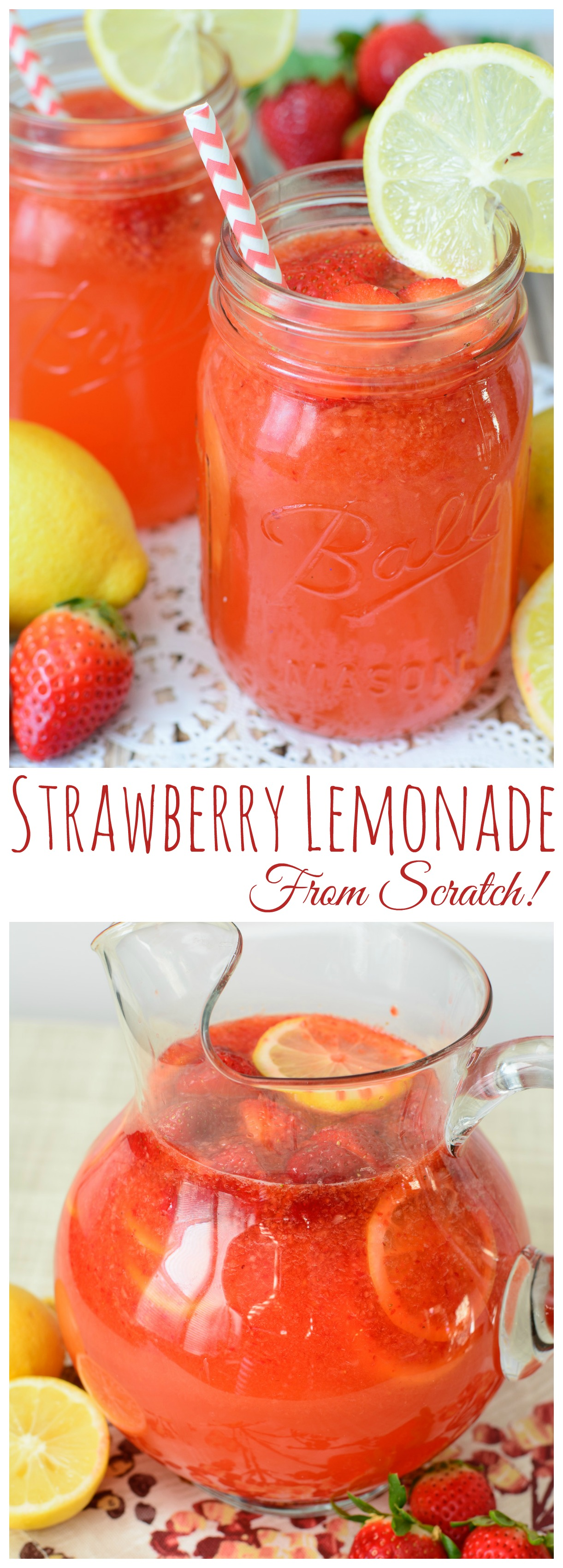This Strawberry Lemonade recipe is wonderfully refreshing & sweet. Made from scratch with fresh lemon juice and strawberries, everyone is sure to love this recipe!