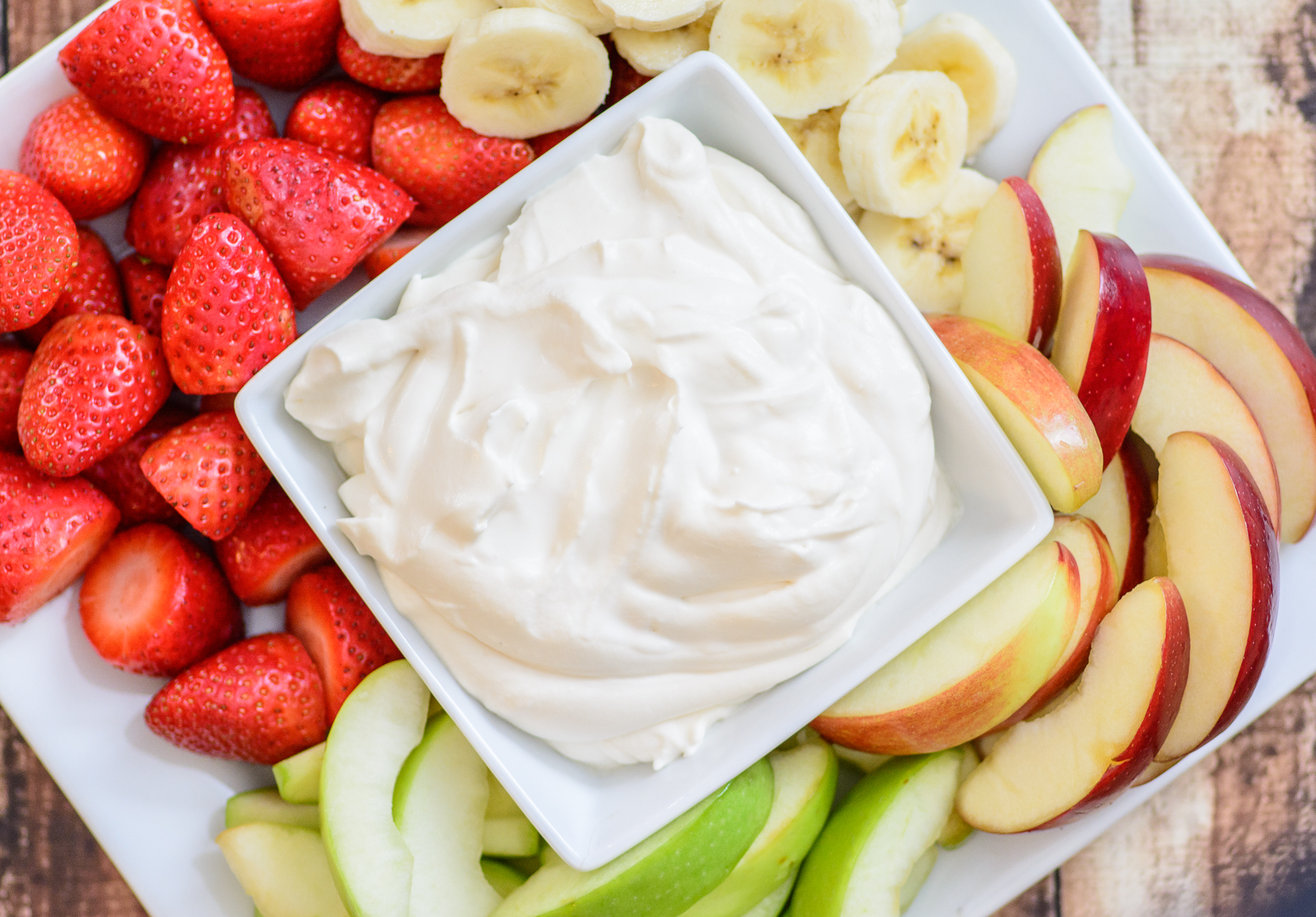 Healthy 3 Ingredient Yogurt Fruit Dip. This healthy and delicious recipe is the perfect compliment to any fruit plate. Made with 3 simple and pure ingredients this fruit dip recipe is sure to be a hit no matter where you serve it!