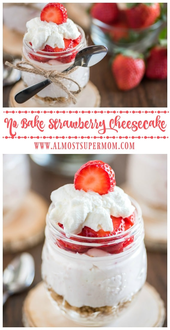 No Bake Strawberry Cheesecake in a Jar