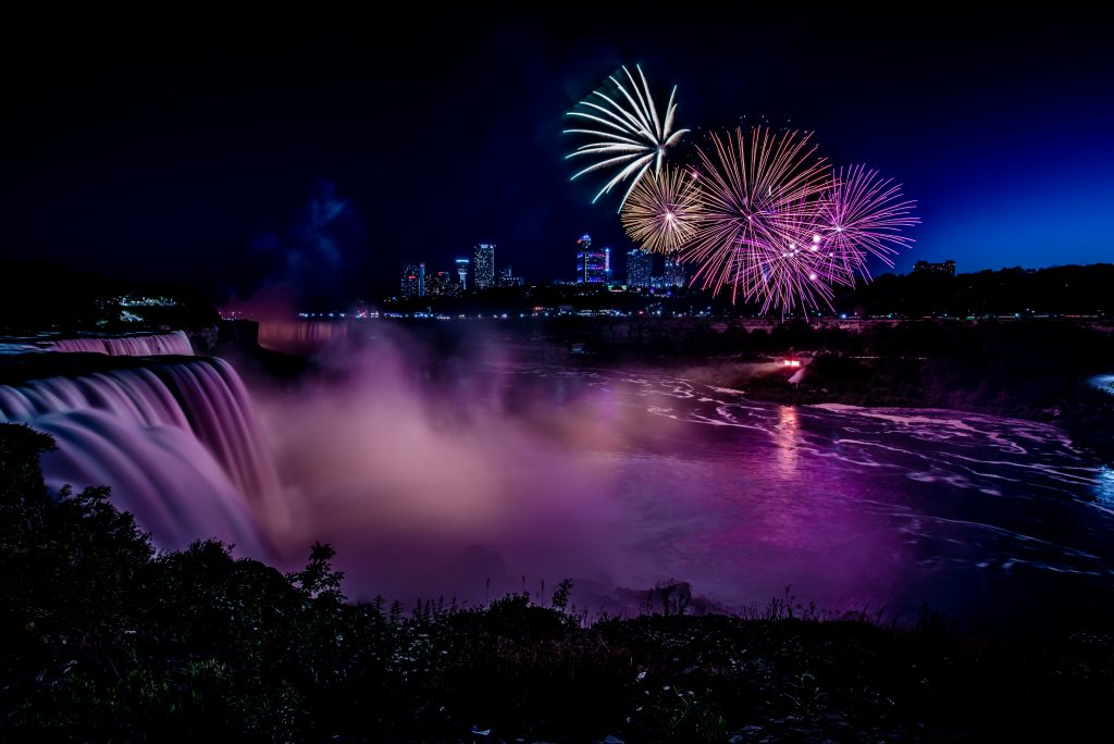 Firework show at Niagara Falls USA